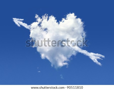 Fluffy cloud of the shape of heart, on a deep blue sky. - stock photo