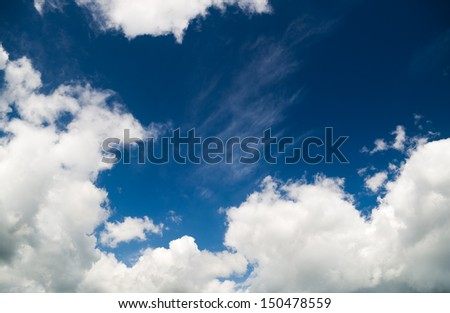 fluffy clouds in the blue sky. Nature composition. - stock photo
