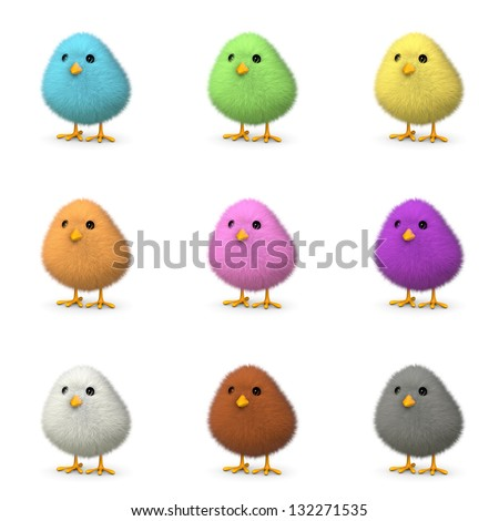 Fluffy colorful chicks isolated on white (3D render) - stock photo