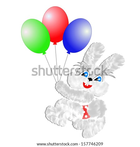 fluffy hare with  balloons on a white background,illustration a raster