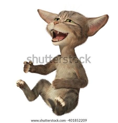 Fluffy kitten holding his belly and laughing. 3d illustration. Isolated white background - stock photo