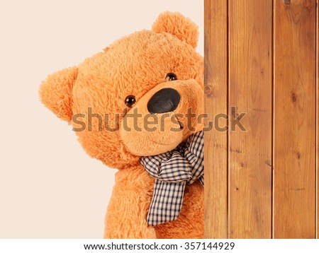 fluffy plush teddy bear from the side wooden board - stock photo