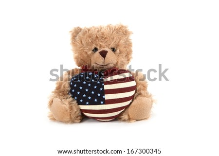 Fluffy teddy bear isolated on white  - stock photo