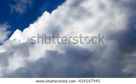 Fluffy  white  cirrostratus , cirrocumulus  and ice cream  cumulus  cloud formations   with some cumulonimbus on  a sunny afternoon  in late autumn    are contrasted against the blue Australian sky. - stock photo