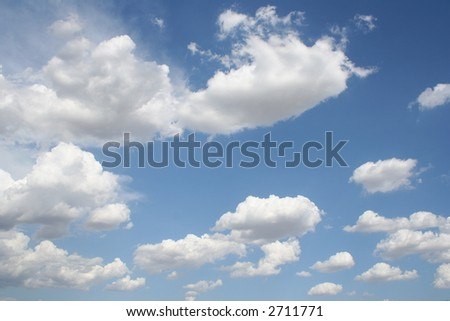 Fluffy white clouds for background - stock photo