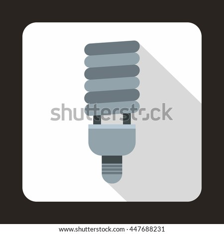 Fluorescent bulb icon in flat style on a white background - stock photo