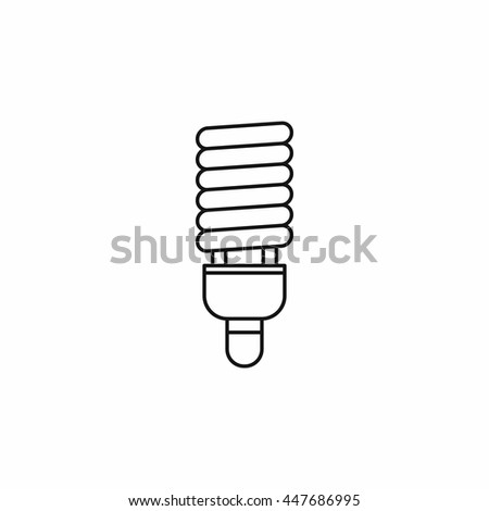 Fluorescent bulb icon in outline style isolated on white background - stock photo