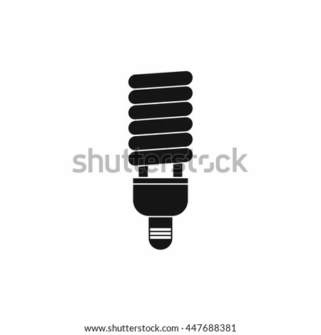 Fluorescent bulb icon in simple style isolated on white background - stock photo