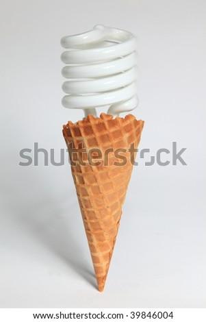 Fluorescent icecream cone - stock photo
