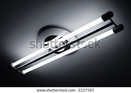 Fluorescent lamps lighted fixed to the ceiling