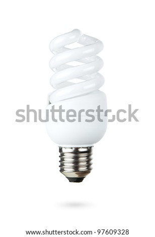Fluorescent light bulb isolated on white background - stock photo