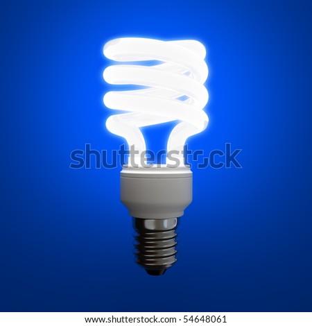 Fluorescent light bulb on blue background - stock photo