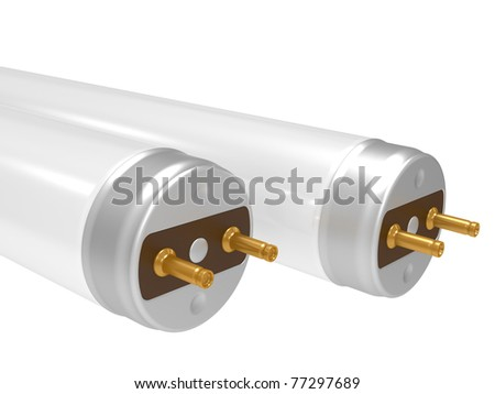 Fluorescent light tube. 3D isolated object on a white - stock photo