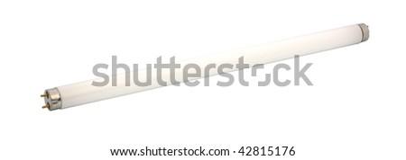 Fluorescent light tube. Isolated object. - stock photo