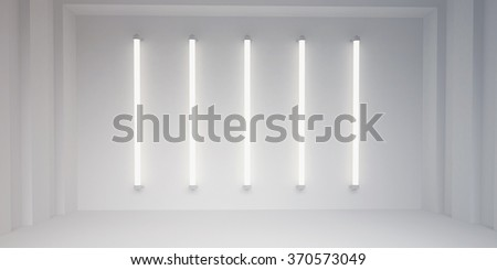fluorescent lights and white wall background - stock photo