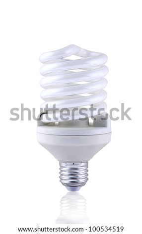 Fluorescent spiral light bulb isolated on white background. - stock photo