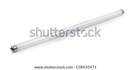 Fluorescent tube lamp isolated on white - stock photo