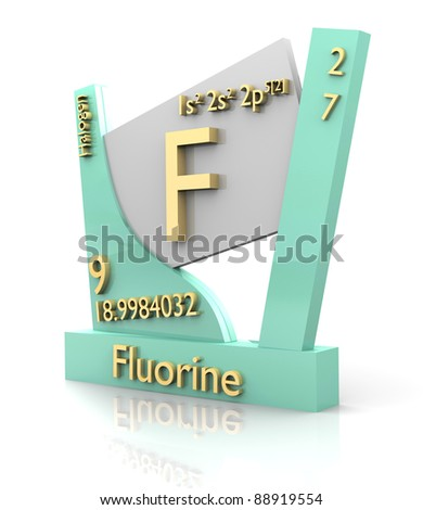 Fluorine form Periodic Table of Elements - 3d made - stock photo