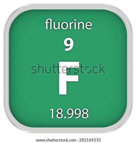 Fluorine material on the periodic table. Part of a series. - stock photo