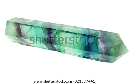 fluorite semigem geological crystal isolated - stock photo