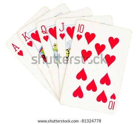 Flush royal cards isolated on white background - stock photo