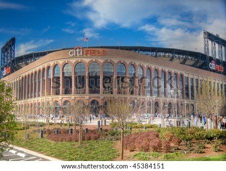 FLUSHING, NY - APRIL 26: A view of the recently opened CitiField, home of major league baseball team the New York Mets, soon after its inaugural opening on April  26, 2009 in Flushing, NY. - stock photo