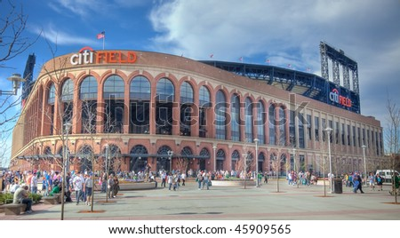 FLUSHING, NY - APRIL 24: A view of the recently opened CitiField, home of major league baseball team the New York Mets, soon after its inaugural opening on April 24, 2009 in Flushing, NY. - stock photo