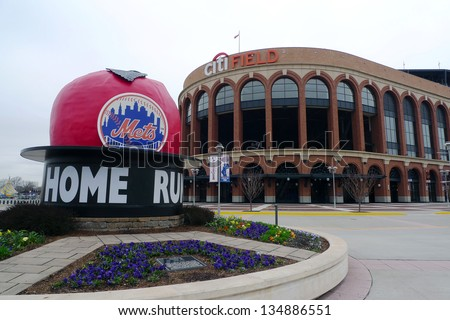 FLUSHING, NY - APRIL 11: Citi Field, home of major league baseball team the New York Mets on April 11, 2013 in Flushing, NY - stock photo