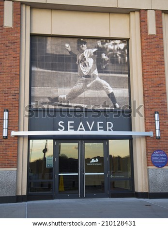 FLUSHING, NY - APRIL 8:  Seaver entrance at the Citi Field, home of major league baseball team the New York Mets on April 8, 2014 in Flushing, NY.  - stock photo