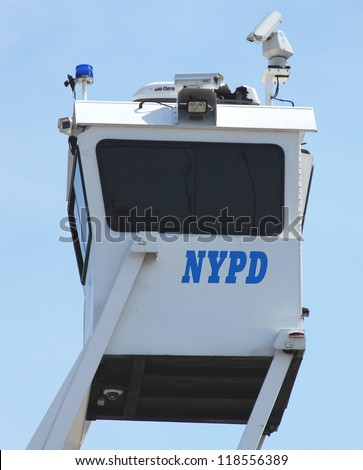 FLUSHING, NY- AUGUST 26:NYPD Sky Watch platform ready to protect public  at Billie Jean King National Tennis Center on August 26, 2012 in Flushing, NY - stock photo