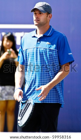 FLUSHING, NY - AUGUST 28: Tennis athlete Andy Roddick attends Arthur Ashe Kids' Day at the Billie Jean King National Tennis Center on August 28, 2010 in Flushing, New York. - stock photo