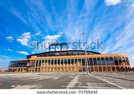FLUSHING, NY - FEB. 17:  Citi Field baseball stadium in Flushing, NYC as seen on Feb. 17, 2012.  Completed in 2009, Citi Field is the home baseball park of Major League Baseball's New York Mets. - stock photo