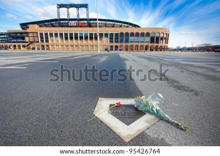 FLUSHING, NY - FEB. 17:  Memorial to NY Mets baseball player Gary Carter at former Shea Stadium home plate site on Feb. 17, 2012 at Citifield, Flushing NY. The legendary catcher died on Feb. 16, 2012.