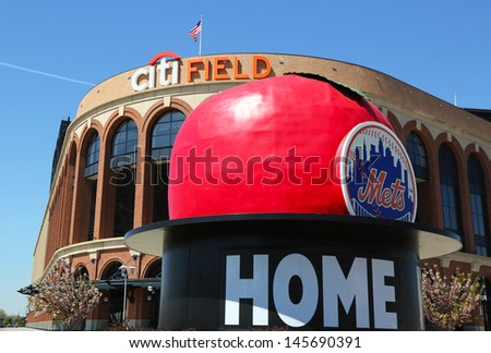 FLUSHING, NY - MAY 2: Citi Field, home of major league baseball team the New York Mets on May 2, 2013 in Flushing, NY. The Mets will host the Major League Baseball All-Star Game on July, 16 2013 - stock photo