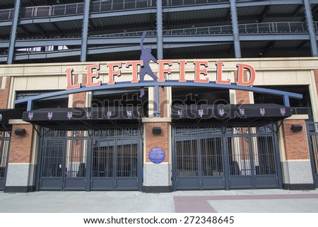FLUSHING, NY - MAY 18, 2014: Left field entrance at the Citi Field, home of major league baseball team the New York Mets in Flushing, NY. - stock photo