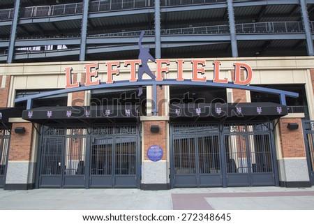 FLUSHING, NY - MAY 18, 2014: Left field entrance at the Citi Field, home of major league baseball team the New York Mets in Flushing, NY. - stock photo