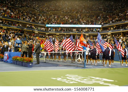 FLUSHING, NY - SEPTEMBER 9  Trophy presentation at Billie Jean King National Tennis Center after US Open 2013 champion Rafael Nadal won final against Novak Djokovic  on September 9, 2013 in Flushing - stock photo