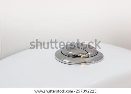 flushing toilet  button of toilet  WC - stock photo