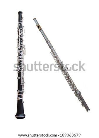 flute and clarinet under the white background - stock photo