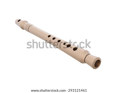 Flute close-up isolated on white background. 3d render image. - stock photo