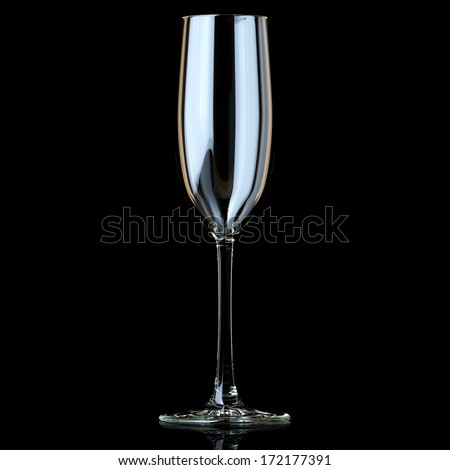 Flute Glass For Champagne On Black Background - stock photo