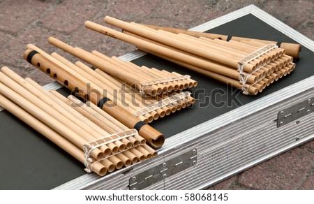Flute  Pan - stock photo
