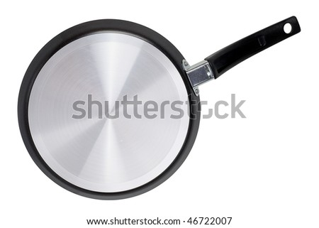 Fluted bottom metal pan on a white background. An isolated object. - stock photo