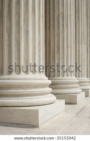 Fluted columns at the United States Supreme Court, Washington, DC.
