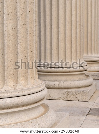 Fluted marble columns from the Temple of Dionysus, part of the Acropolis at Pergamon, Turkey