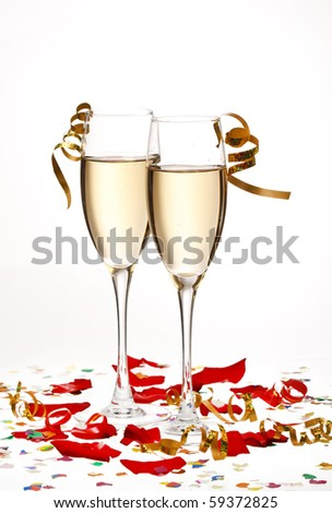 flutes of champagne - stock photo
