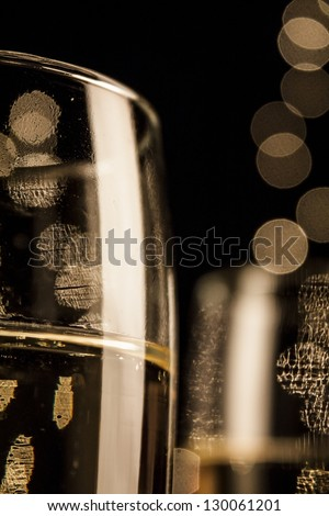 Flutes of champagne in holiday - stock photo