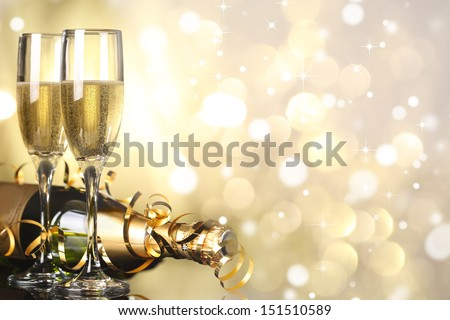 Flutes of champagne in holiday setting