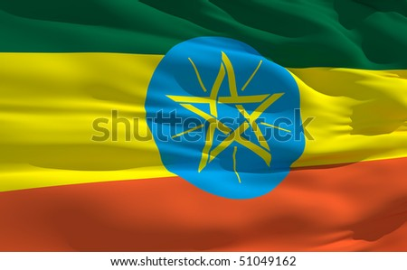 Fluttering flag of Ethiopia on the wind - stock photo