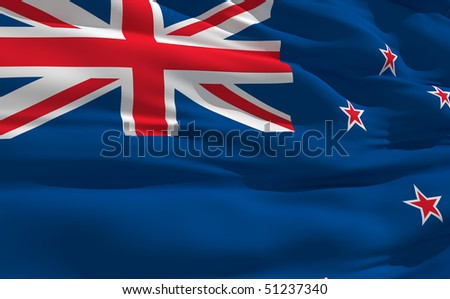 Fluttering flag of Zealand on the wind